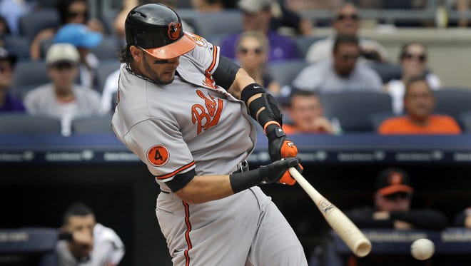 Michael Morse singles in his first at-bat since being traded from the Seattle Mariners to the Baltimore Orioles.
