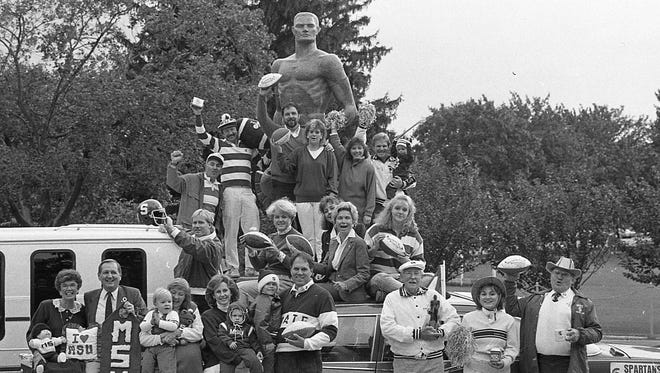 MSU Green and White fans at MSU with Sparty, Oct. 6, 1987.