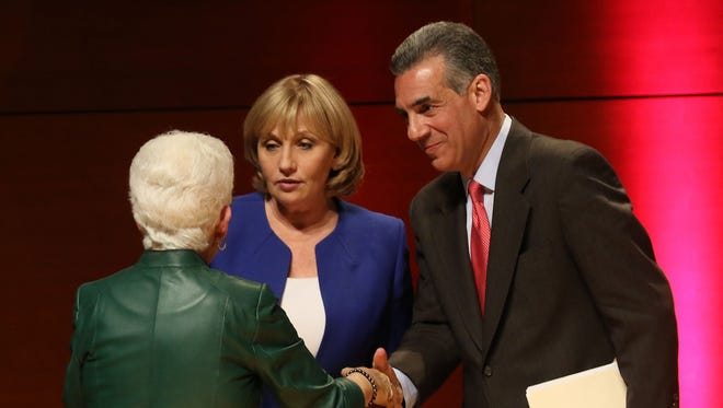 Debate moderator Sharon Schulman, executive director of the William J. Hughes Center for Public Policy at Stockton University with New Jersey Republican gubernatorial candidates Lt. Gov. Kim Guadagno and Assemblyman Jack Ciattarelli at the conclusion of their May 9, 2017, debate.