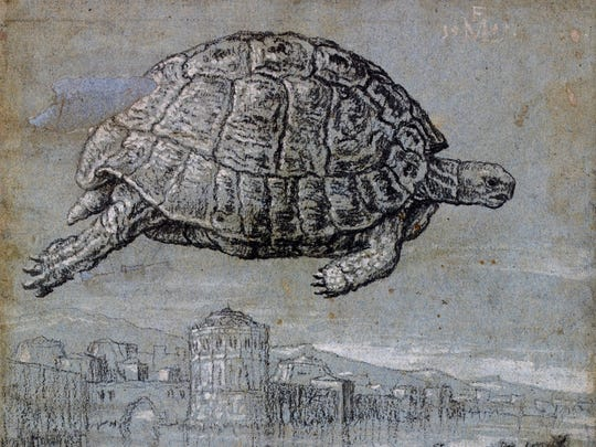 "This drawing provided by the New Mexico Museum of Art shows ""Melchior Lorck, Tortoise and view of a walled, coastal town, 1555, charcoal."" The piece is part of a select collection of drawings through the ages that has come from across the ocean to the New Mexico Museum of Art. ""Lines of Thought: Drawing from Michelangelo to Now: from the British Museum"" opened at the end of May with 70 works curated from 50,000 drawings from the London museum's Prints and Drawings collection, representing just a tiny part of the museum's eight million cultural and artistic objects."