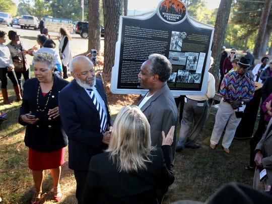 James Meredith (second left) greets Hernando alderman