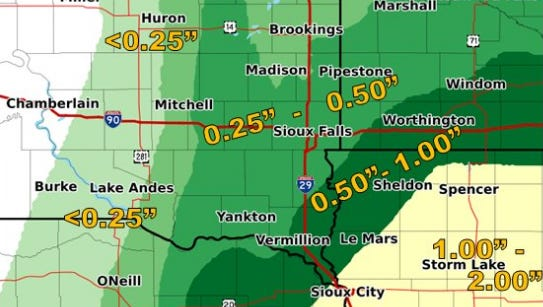Rainfall estimates projected by Tuesday night for southwest South Dakota and northwest Iowa.