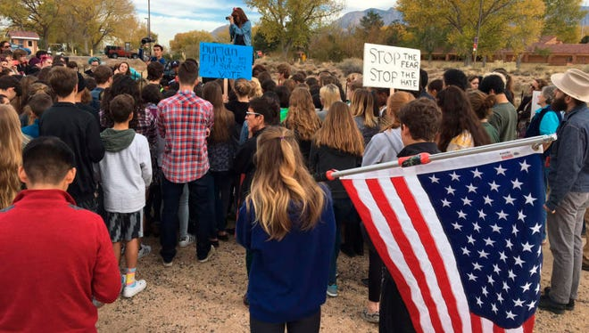Albuquerque Academy students walked out of class Wednesday to protest Donald Trump, who was elected President of the United States November 8, 2016.
