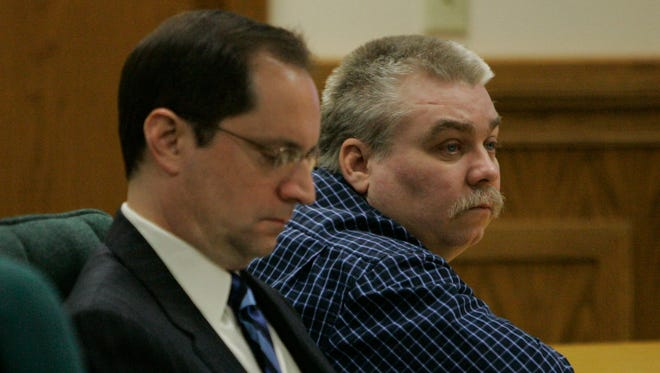 Sitting next to his defense attorney Jerome Buting, Steven Avery listens to his lead defense attorney Dean Strang as he gives his closing arguments in the courtroom on March 15, 2007 at the Calumet County Courthouse in Chilton.