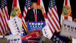 Donald Trump speaks at a campaign rally at the Florida