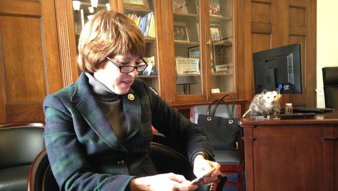 Rep. Gwen Graham, D-Tallahassee, sits in her Capitol Hill office while searching on her phone for information about Danfoss Turbocor Compressors Inc. She recently visited the  air compressor manufacturer in Tallahassee while promoting the importance of career training programs.