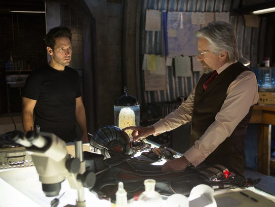 "Paul Rudd and Michael Douglas in a scene from ""Ant-Man."""