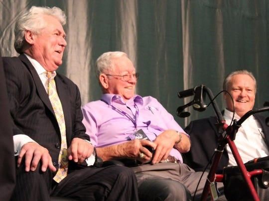 From left, Ove Johansson, Wally Bullington and Glenn Labhart laugh after speaker Wilbert Montgomery acknowledges Bullington's cellphone ringing during his speech at homecoming on Oct. 22, 2016 at Abilene Christian University. Greg Jakewicz/Reporter-News