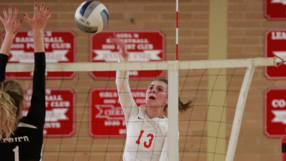 The North Rockland volleyball plays against Scarsdale