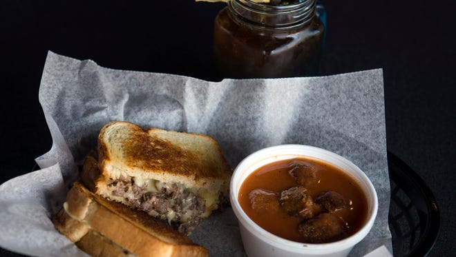 Cheesesteak grilled cheese with tomato soup from Steve's Grilled Cheese & Quesadilla Co. in Glassboro.