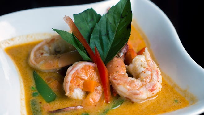 Panang curry with shrimp from Circles Contemporary Asian Cuisine in Collingswood.