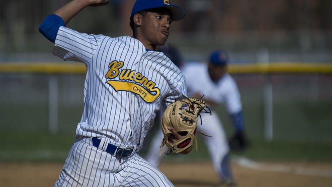 Buena's Luis Sauri delivers a pitch during a regular-season game in 2016. Along with his brother Yan, Luis has been a key player to this year's squad..