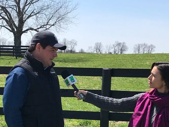 Sean Tugel, a 2002 McQuaid graduate, is interviewed by TVG television. Tugel is assistant racing manager/director of bloodstock services for famed WinStar Farm in Kentucky.