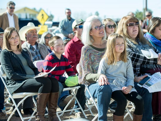 Many gather in Berino on Monday, Jan. 23, 2017, as New Mexico Greenhouse Holdings and Wholesome Family Farms announce seperate investments totaling more than $18 million in public and private money which is expected to create more than 100 new jobs.