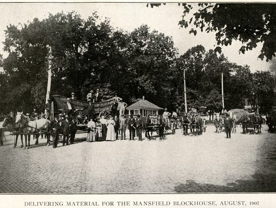 A photograph of materials for the Mansfield blockhouse