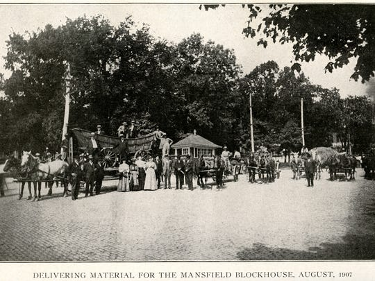 A photograph of materials for the Mansfield blockhouse being delivered in August 1907 is a bit of Richland County history.