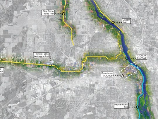 A map shows existing and future trails in the St. Cloud