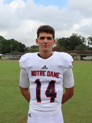 Notre Dame's Garrett Bergeron shines in his first start as varsity quarterback.