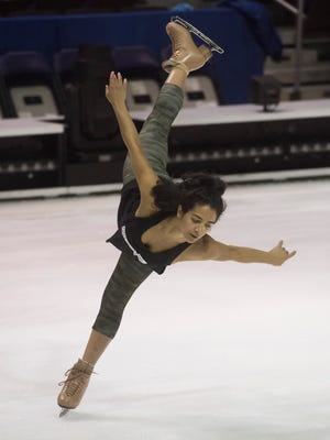 Nobahar Dadui warms up before Thursday night's, Oct. 19, 2017, performance of Cirque Du Soleil production of Crystal at the Pensacola Bay Center. Crystal is billed as a breakthrough ice experience and will run through Sunday.