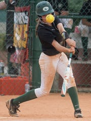 Edgewood's Emma Brown hits in the game winning run for the AISA AAA State Championship against Glenwood at Lagoon Park in Montgomery, Ala., on Saturday May 5, 2018.