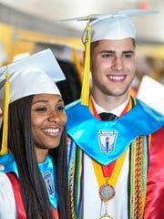 Lee High School Valedictorian Zippy Broughton, left,