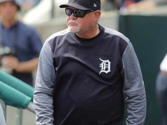 Detroit Tigers manager Ron Gardenhire in the dugout during eighth inning action against Tampa Bay  Wednesday, May 2, 2018, at Comerica Park in Detroit, Mich.