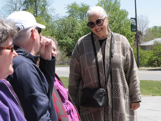 Roberta Gordon, right, of Raymond, Maine, chats with several students from her second grade class at Ellwanger and Barry School No. 24. She taught there during the 1966-67 school year, and has reunited with some of her students each year for 50 years.