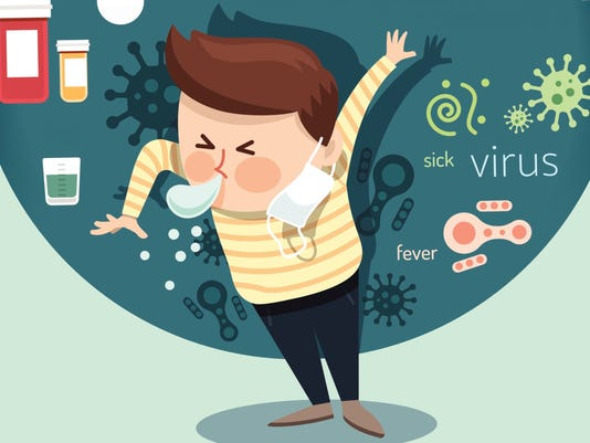 Boy sneeze health care medical with virus design infographic