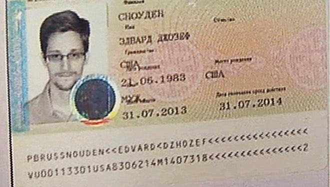 This image shows a copy of a temporary document to allow Edward Snowden to cross the border into Russia  on Aug. 1, 2013.