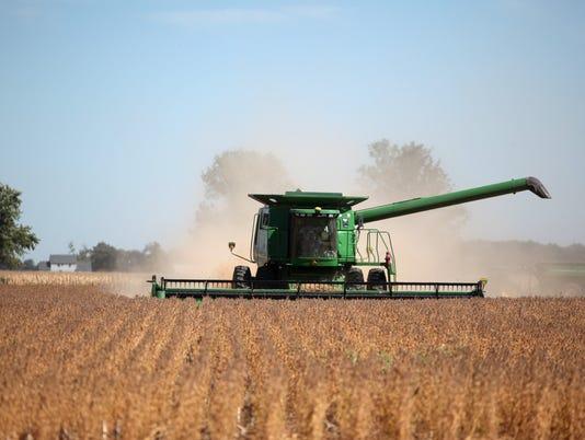 Farm combine soybeans