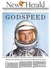 The News Herald won second place for best full page design for its December 9, 2016 front page on the death of John Glenn.