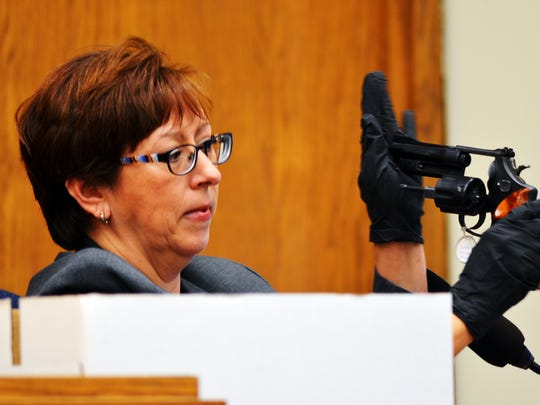Toni Leal-Olsen, who worked for the Washoe County Sheriff's Office's Forensic Investigation Section, testifies during the murder trial of Wayne Burgarello in 2015. Burgarello was found not guilty in the fatal shooting of 34-year-old Cody Devine.