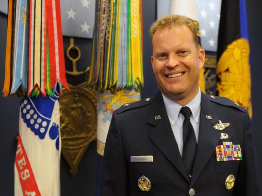 Air Force Brig. Gen. Jeffrey Cashman, an Essex native, smiles after his promtion ceremony Friday in the Hall of Heroes at the Pentagon.