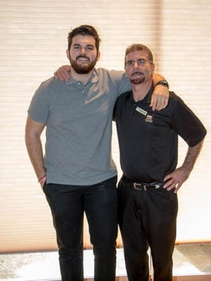 Scholarship recipient Edgar Gonzalez (left) with his father Art Gonzalez.  Edgar is a second year student at University of California San Diego majoring in Biochemistry.  His father Art is a Food & Beverage employee at Indian Ridge.