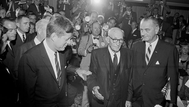 President John F. Kennedy attends Sen. Carl Hayden's 50th anniversary dinner in 1961 at the Westward Ho Hotel in Phoenix, along with Vice President Lyndon B. Johnson.