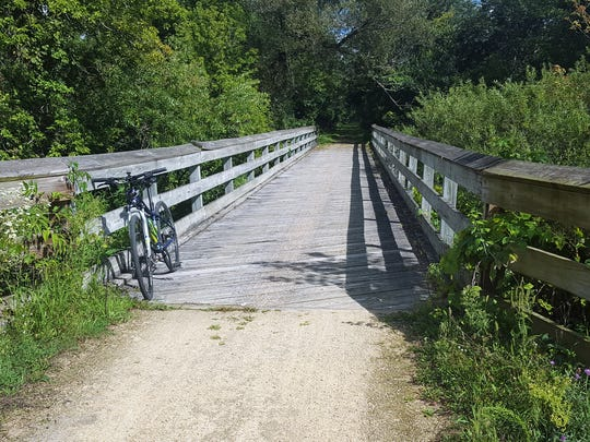 The Sugar River State Trail crosses the Sugar River and its tributaries via 14 trestle bridges on its way from New Glarus to Brodhead in Green County.