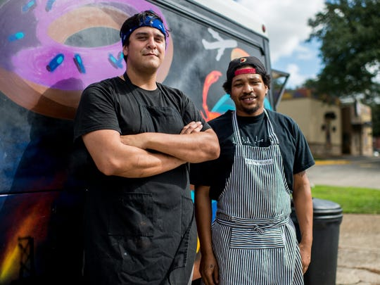 Ruebin Sandberg and Nick Glenn, co-owners of the Live Action Deli food truck, in Lafayette.