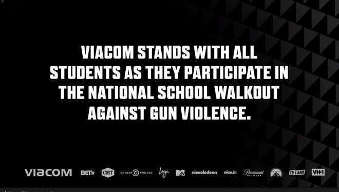 Viacom paused programming on multiple major TV channels at 10 a.m. local time Wednesday in support of students walking out to protest gun violence.