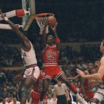 Michael Jordan, 23, scores against the Knicks at Madison Square Garden during the 1988 season.