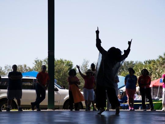Destinee Hill,18, performs a praise dance on Charleston