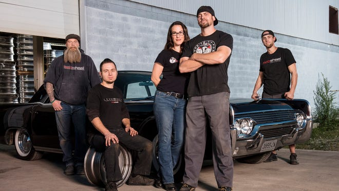 From left, Ron Coan, Doug Hanes, co-owners Pam and Adam Genei and Steve Ryan are the crew that keep Mobsteel growing.