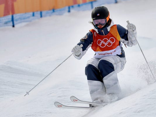JaelinKauf, of the United States, runs the course during the women's moguls qualifying at the 2018 Winter Olympics in Pyeongchang, South Korea, Friday, Feb. 9, 2018. (AP Photo/Kin Cheung)