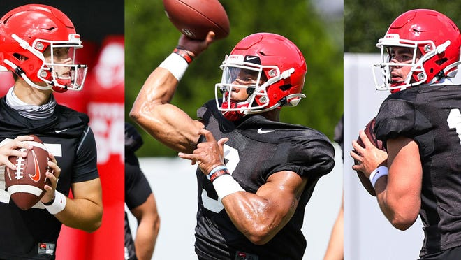 Carson Beck, Jamie Newman and JT Daniels (left to right) are among five scholarship players competing at quarterback for Georgia.