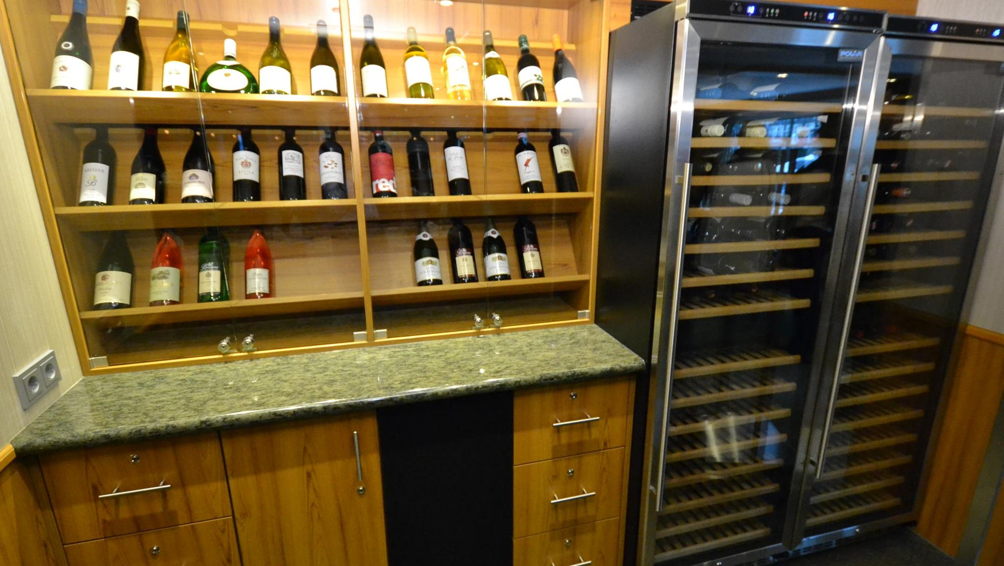 The wine storage area in the main dining room.
