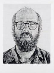This 1977 self-portrait by Chuck Close is part of the permanent collection at the Des Moines Art Center.