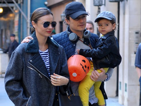 Miranda Kerr, Orlando Bloom and their son, Flynn, celebrate Halloween together on Oct. 28 in NYC.