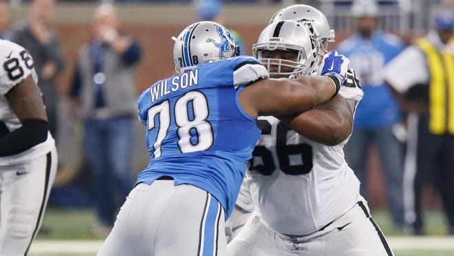 Oakland Raiders guard Gabe Jackson (66) blocks Detroit Lions defensive tackle C.J. Wilson (78) during the first half of an NFL football game, Sunday, Nov. 22, 2015, in Detroit.