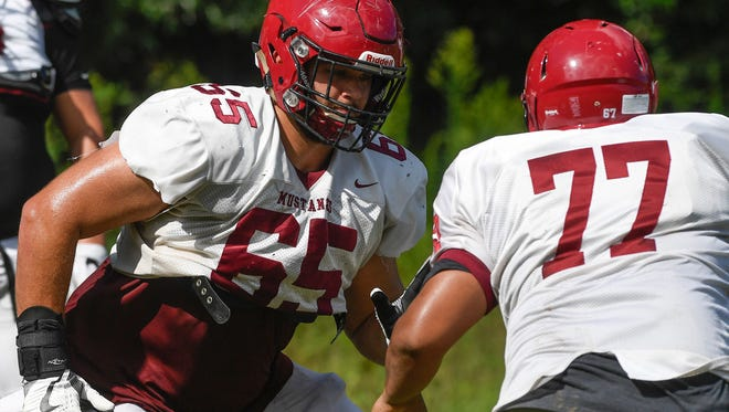 Jake Andrews during football practice at Stanhope Elmore High School in Millbrook, Ala., on Wednesday August 16, 2017.
