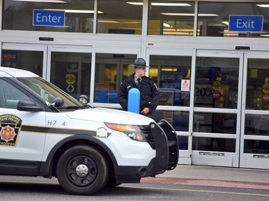 Pennsylvania State Police were stationed outside the Wal-Mart in Shrewsbury during a police incident.