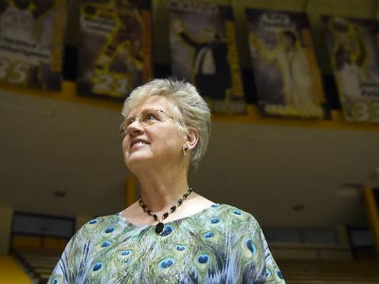 Former Southern Miss women's basketball coach Kay James stands in the Reed Green Coliseum. She will be inducted into the Mississippi Sports Hall of Fame.